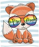 Cute Fox with sun glasses. Cool Cartoon Cute Fox with sun glasses Stock Photography