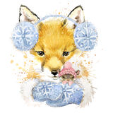 Cute fox T-shirt graphics, watercolor fox and mouse illustration Stock Photo