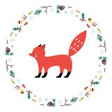 Cute Fox. Vector illustrtion. Minimalistic design, children s picture. royalty free illustration