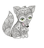 Cute Fox in zentangle style. For adult anti stress coloring pages. Ornamental tribal illustration for card, poster, print. Hand drawn sketch isolated on white Stock Images