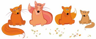 Cute foxes. Vector set of cute foxes Royalty Free Stock Image