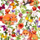 Cute foxes animals, summer meadow flowers and butterflies. Ditsy repeating floral pattern. Watercolor vector illustration