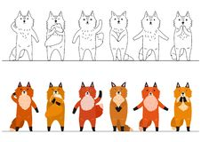 Cute foxes border with copy space. Set of various cute foxes in a row, with and without colors vector illustration