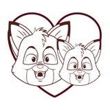 Cute foxes cartoon. Inside heart shaped vector illustration graphic design vector illustration