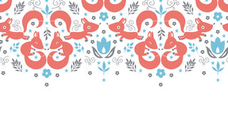 Cute foxes horizontal seamless pattern background Stock Images