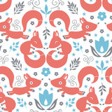 Cute foxes seamless pattern background Royalty Free Stock Photo
