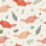 Cute foxes seamless pattern. Orange foxes on floral background. Good for print, wrapping paper, textile, fabrics, wallpaper, decor royalty free illustration
