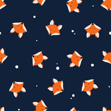 Cute foxes seamless vector pattern. Vector cute cartoon fox seam Stock Image