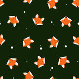 Cute foxes seamless vector pattern. Vector cute cartoon fox seam Royalty Free Stock Image