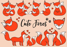 Cute foxes, vector set Royalty Free Stock Images