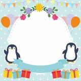 Cute Frame / Border with Adorable Penguin Vector Stock Photo