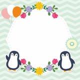Cute Frame / Border with Adorable Penguin Vector Stock Photography
