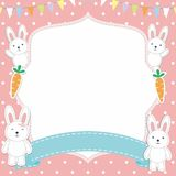 Cute Frame / Border with Adorable Rabbit / Bunny Vector Royalty Free Stock Images
