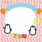 Cute Frame / Border with Adorable Penguin  Vector Stock Images