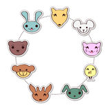 Cute frame with cartoon animal faces Stock Photography