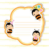 Cute frame with cute bees on orange frame suitable for Birthday postcard vector illustration