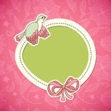 Cute frame design with bird. Vintage Royalty Free Stock Photos