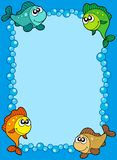 Cute frame with fishes and bubbles. Vector illustration Royalty Free Stock Photos