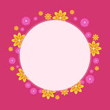 Cute frame with flower on pink backgrounds. Vector art Royalty Free Stock Photo