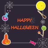Cute Frame Happy Halloween have pumpkin,candy, moon, broom, spider and cobweb about use to greeting card, poster and adverting. p. Ut text Halloween on frame vector illustration
