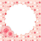 Cute Frame with Rose Flowers Vector Illustration Stock Images