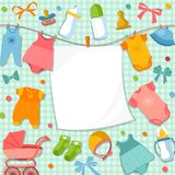 Cute frame for scrapbook new born baby. Funny pictures set for kids Stock Image