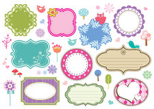 Cute frames. Set of frames with floral ornament and lovely birds