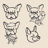 Cute french bulldogs set. Styleish silhouette drawings stock photos