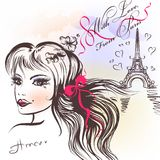 Cute French girls face with long hair sketch style Royalty Free Stock Images