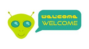 Face alien. Cute friendly alien astronaut from mars or another galaxy planet say welcome in translation. colonization mission first contact UFO. Face mask Stock Image