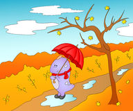 Cute friendly alien in rubber boots, scarf and with umbrella in Stock Photos