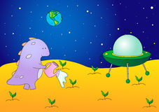 Cute and friendly alien watering the plants on his planet. Flyin Stock Images