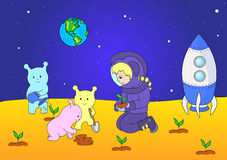 Cute and friendly aliens and astronaut watering the plants on th Royalty Free Stock Photos