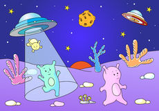 Cute friendly aliens land on the planet's surface from spacecraf Stock Image