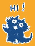 Cute friendly cat says hi. Vector illustration. royalty free stock images