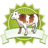 Cute friendly cow. Farming sign Royalty Free Stock Photo