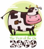 Cute friendly cow. 2009 is the Year of the Ox according to the Chinese Zodiac. To see similar, please VISIT MY GALLERY stock illustration