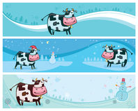 Cute friendly cows banners. Cute friendly cow. 2009 is the Year of the Ox according to the Chinese Zodiac. To see similar, please VISIT MY GALLERY stock illustration