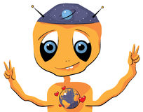 Cute friendly face of an Alien expressing love to. Illustration of an Alien expressing love to Earth Stock Images