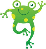 Cute friendly frog waving animatedly Royalty Free Stock Image