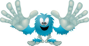 Cute friendly furry blue monster Royalty Free Stock Images