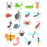 Cute Friendly Insects Set With Cartoon Bugs, Beetles, Flies, Spiders And Other Small Animals. Smiling Miniature Fauna Creatures With Faces Vector Illustrations Stock Image