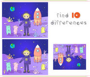 Cute and friendly martians greeting astronaut on their planet. C. Osmonaut landed on the moon's surface. Educational game for kids: find ten differences. Vector Vector Illustration