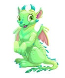Cute friendly sitting green dragon Royalty Free Stock Photography