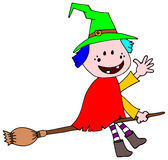Cute friendly witch flying on a broomstick Royalty Free Stock Image