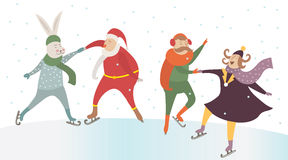Cute friends dancing on ice Stock Image