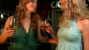 Cute friends having a glass of wine. In a bar stock video footage