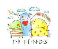 Cute friends monster animals with clouds and rainbow Stock Images