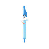 Cute frienfly cartoon blue pen comic character, humanized pen with funny face vector Illustration. On a white background Royalty Free Stock Image