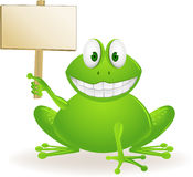 Cute frog. Illustration of smiling green frog and blank sign Royalty Free Stock Photo